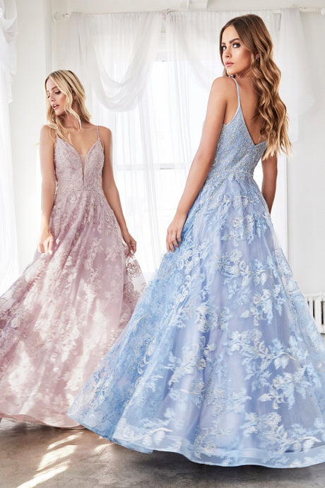 Colette Prom Gown in Blue Floral Lace Sleeveless Prom Dress C-902