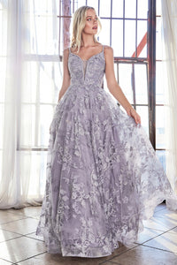 Colette Prom Gown Floral Lace Sleeveless Prom Dress C-902-Violet