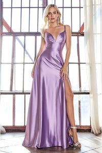 Darla Prom Gown Satin Floor Length Prom Dress with Front Leg Slit C-903-Violet