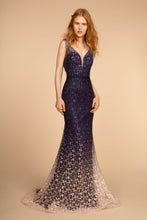 Load image into Gallery viewer, Dylan Prom Gown Embroidered Mermaid Ombre Hem Prom Dress G-2556-Navy/Purple/Nude