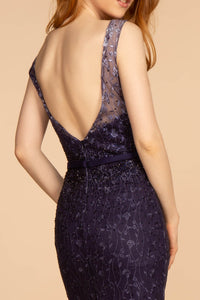 Dylan Prom Gown Embroidered Mermaid Ombre Hem Prom Dress G-2556-Navy/Purple/Nude