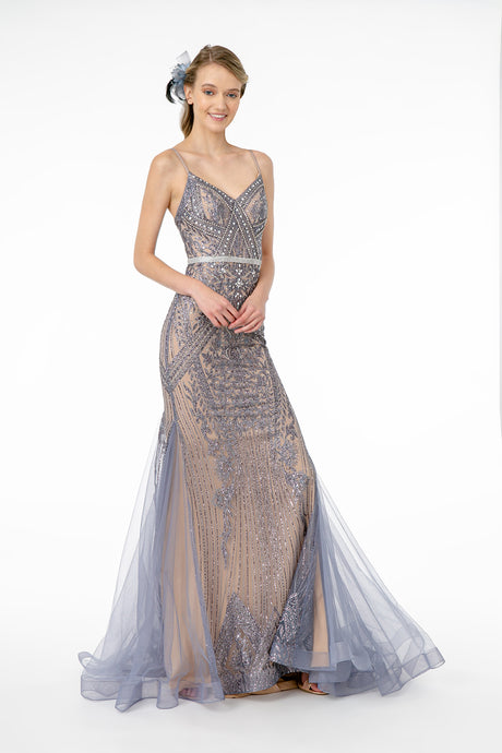 Eliza Prom Gown Gatsby Style with Chiffon Mermaid Fishtail Train C-2679-Charcoal