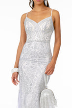 Load image into Gallery viewer, Eliza Prom Gown Gatsby Style with Chiffon Mermaid Fishtail Train C-2679-Silver