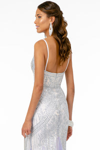 Eliza Prom Gown Gatsby Style with Chiffon Mermaid Fishtail Train C-2679-Silver