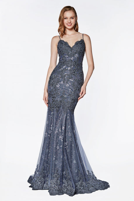 Ember Prom Gown in Smoky Blue Sleeveless Lace Mermaid Prom Dress C-887