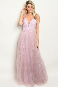 Emma Prom Dress Sleeveless Ballgown covered in Embroidery-Lavender