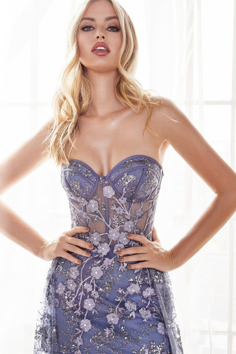Eva Prom Gown in Smoky Blue Strapless  Corset Bodice with Tulle Skirt C-CB046