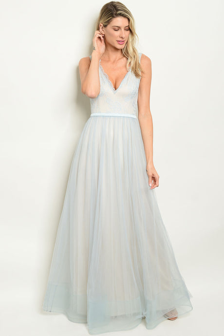 Felicity Prom Gown in Sleeveless Blue Lace with Full Skirt W-24533