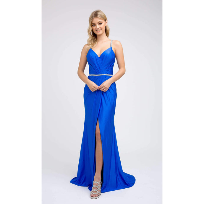 Fiona Prom Gown in Royal Blue Straight Prom Dress with Front Slit and Rhinestone Belt  J-233