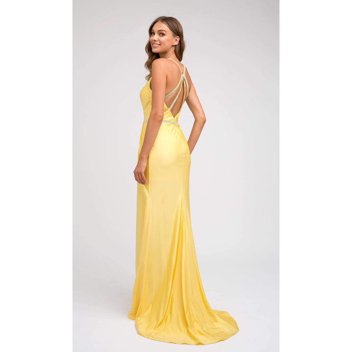 Fiona Prom Gown in Yellow Straight Prom Dress with Front Slit and Rhinestone Belt J-233