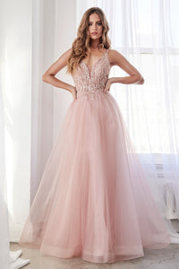 Genesis Prom Dress Beaded Bodice with Tulle Skirt C154-Blush