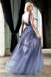 Gerri Prom Dress Ombre Ballgown with glitter tulle C053ER-Navy
