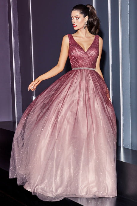 Gerri Prom Dress Ombre Ballgown with glitter tulle C053ER-Rouge