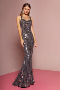 Harlow Prom Gown Sleeveless Flared Hem Prom Dress G-2702-Charcoal