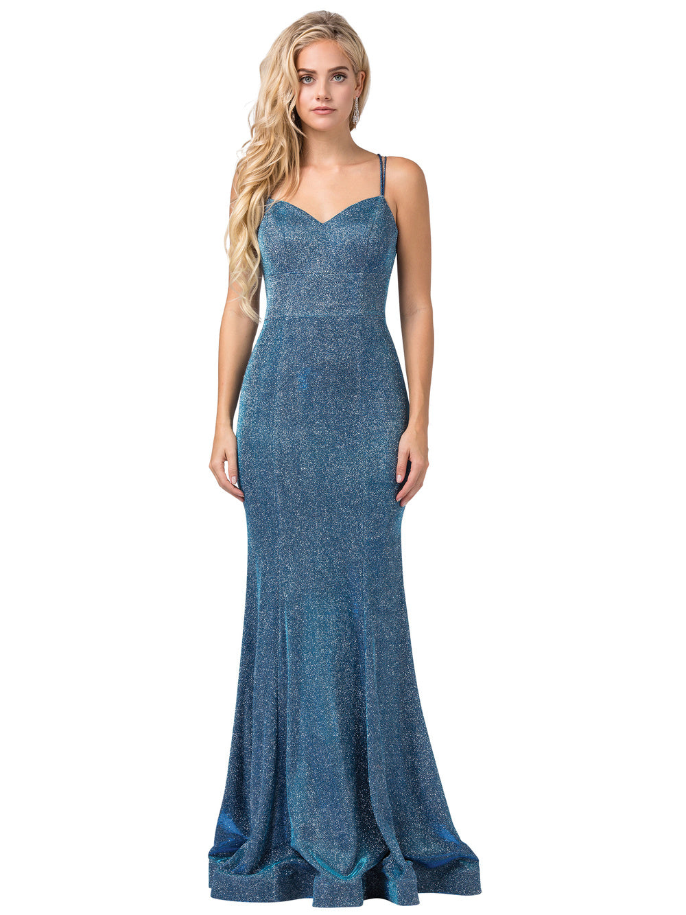 Harper Prom Gown Metallic Glitter Mermaid Prom Dress D-2698-OpalBlue