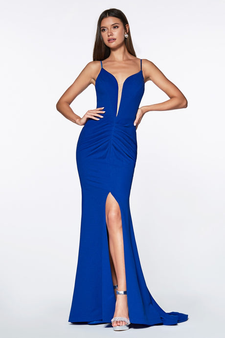 Isabella Prom Gown in Royal Blue Sexy Deep Neckline Front Slit Flared Bottom  C-329