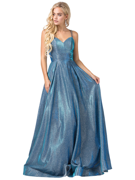 Janelle Prom Gown in Blue Opal Metallic Sparkle Ballgown Sweetheart Neckline Prom Dress D-2611