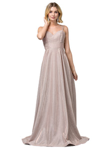 Janelle Prom Gown Metallic Sparkle Ballgown Prom Dress  D-2611-RoseGold