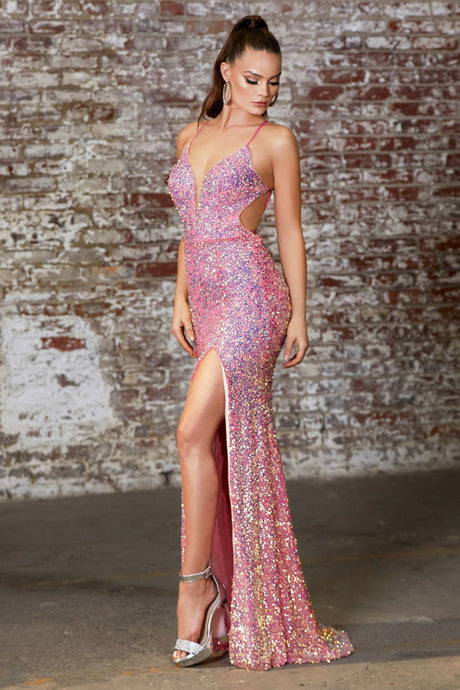 Kat Prom Dress Fitted Sequin Prom Gown C175AR-OpalPink