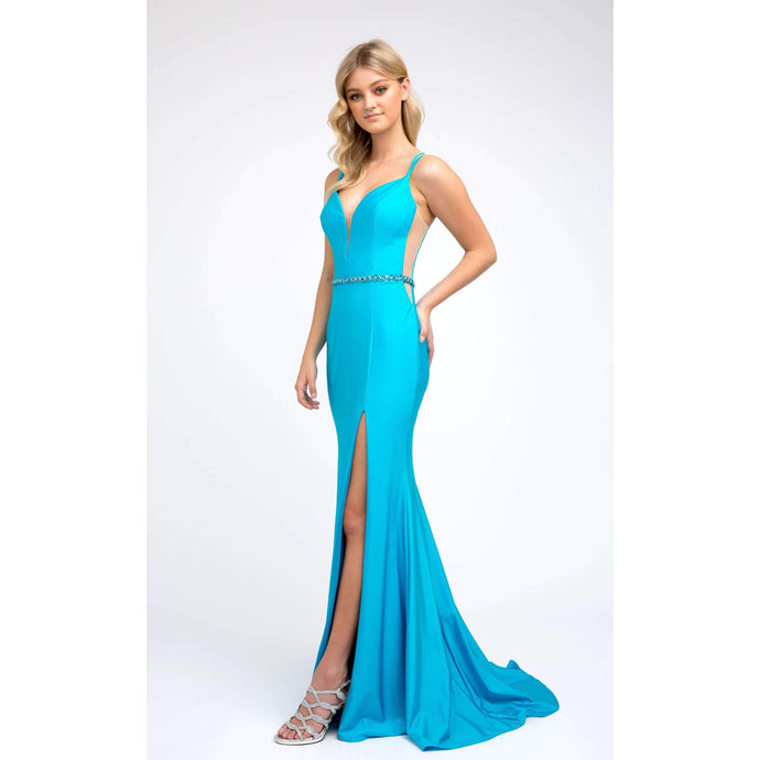 Lea Prom Gown in Turquoise Sleeveless Sweetheart Flared Skirt Prom Dress J-239