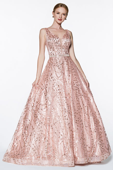 Mariposa Prom Gown Ballgown with Metallic Accents Prom Dress C-0028-RoseGold