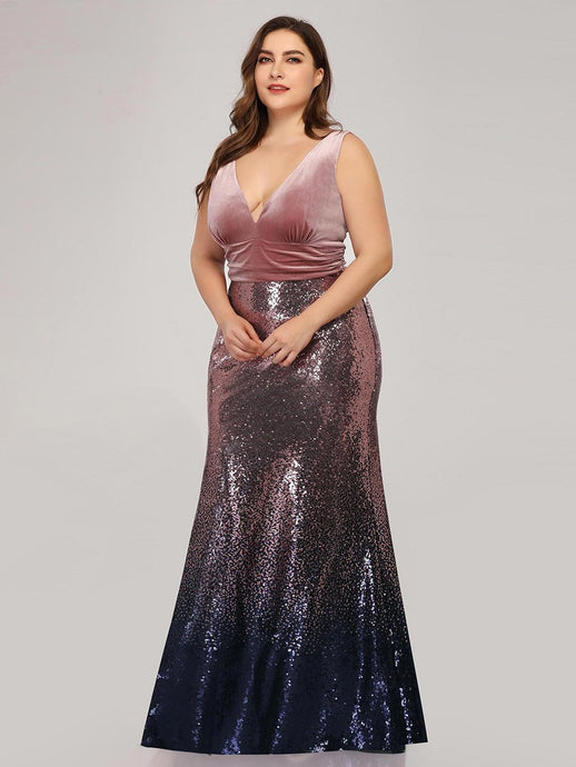 Mia Prom Gown V Neck Velvet and Sequin Mermaid Prom Dress  E-7767-Orchid