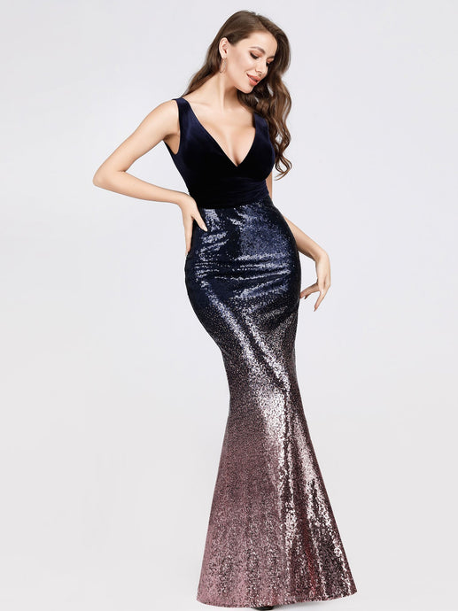 Mia Prom Gown V Neck Velvet and Sequin Mermaid Prom Dress E-7767-Purple