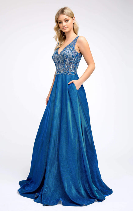 Nina Prom Gown in Royal Blue Lace Top with Metallic Full Skirt Prom Dress J-225