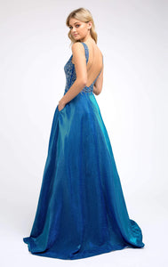 Nina Prom Gown Lace Top Metallic Skirt Prom Dress J-225-RoyalBlue