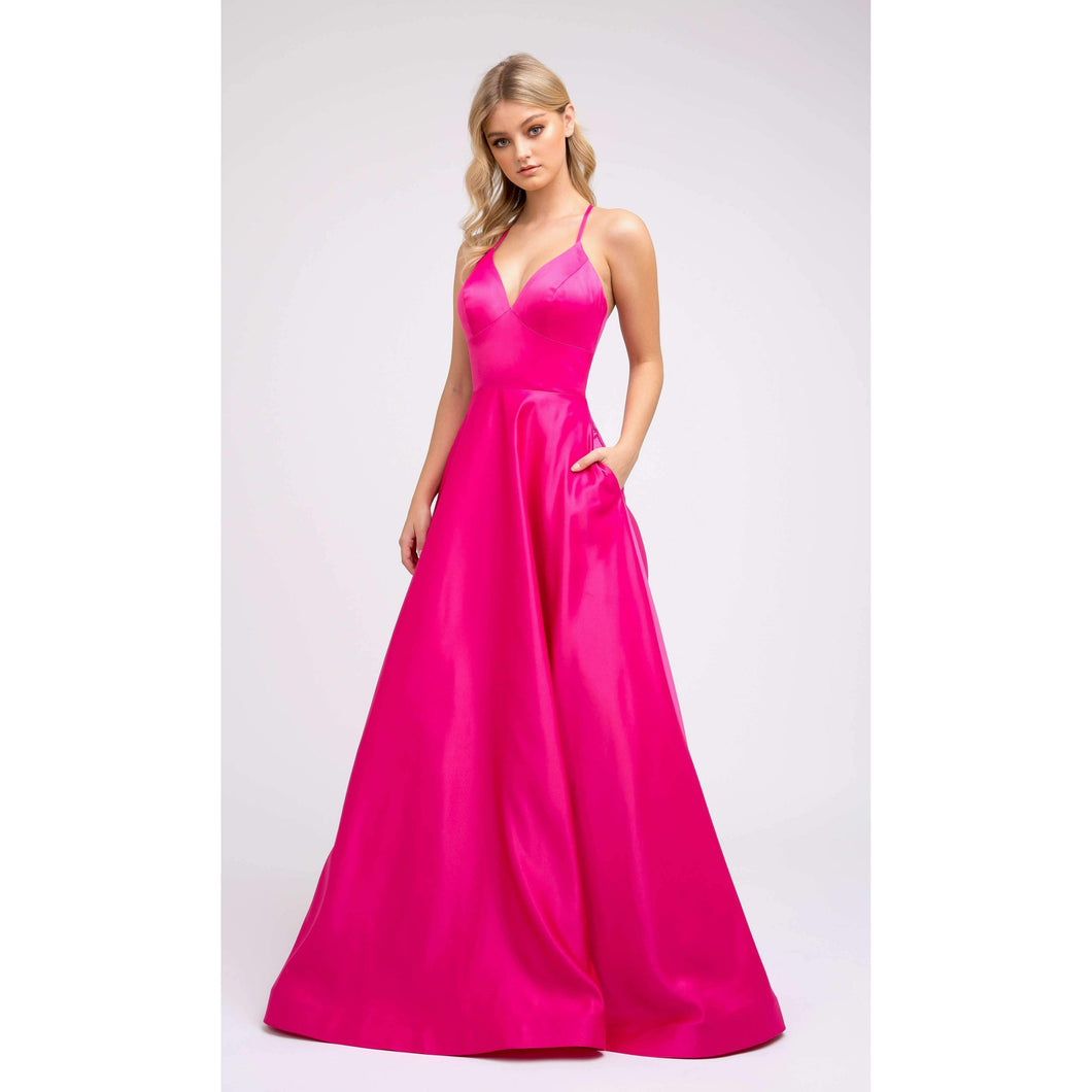 Paige Prom Gown Satin with Pockets Prom Dress J-230-Fuschia