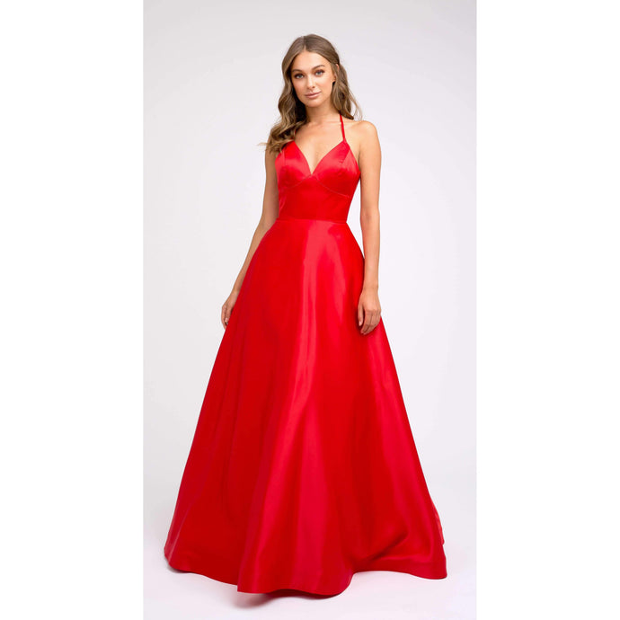 Paige Prom Gown Satin with Pockets Prom Dress J-230-Red