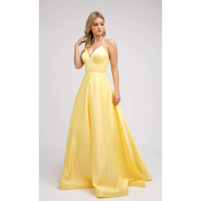 Paige Prom Gown in Yellow Satin Sleeveless Prom Dress with Pockets COMING SOON! J-230