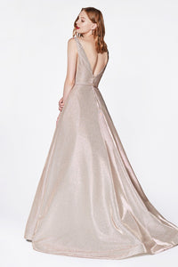 Riley Prom Gown Metallic Sparkle Ballgown Prom Dress C-0029-Champagne