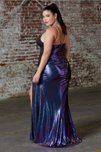Load image into Gallery viewer, Shea Prom Dress Straight with Front Slit Metallic Prom Gown-C188-Purple