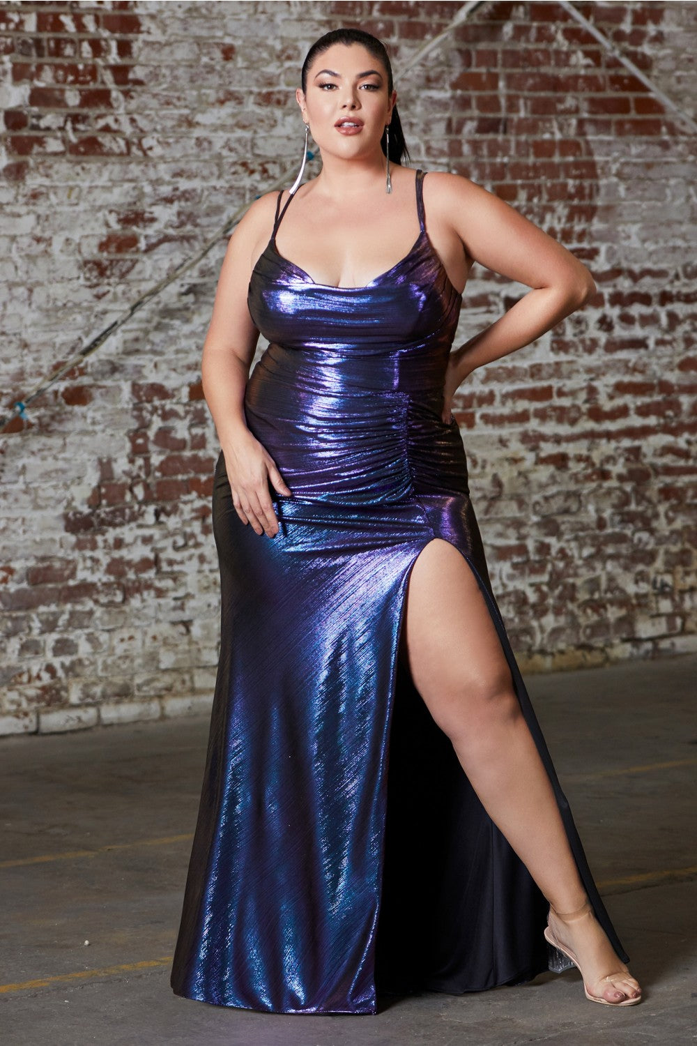 Shea Prom Dress Straight with Front Slit Metallic Prom Gown-C188-Purple