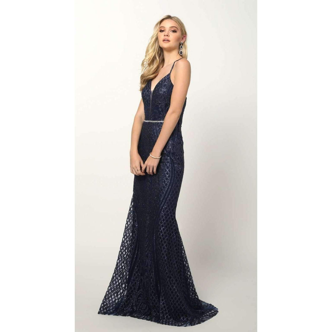 Simone Prom Gown Embroidered Fitted Prom Dress C-681-Navy