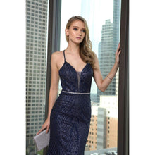 Load image into Gallery viewer, Simone Prom Gown Embroidered Fitted Prom Dress C-681-Navy