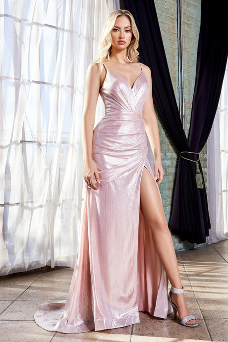 Sonja Prom Dress V Neckline with V Back C007-Blush