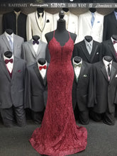 Load image into Gallery viewer, Sophia Prom Gown Lace Flared Hem Prom Dress J-220-Burgundy