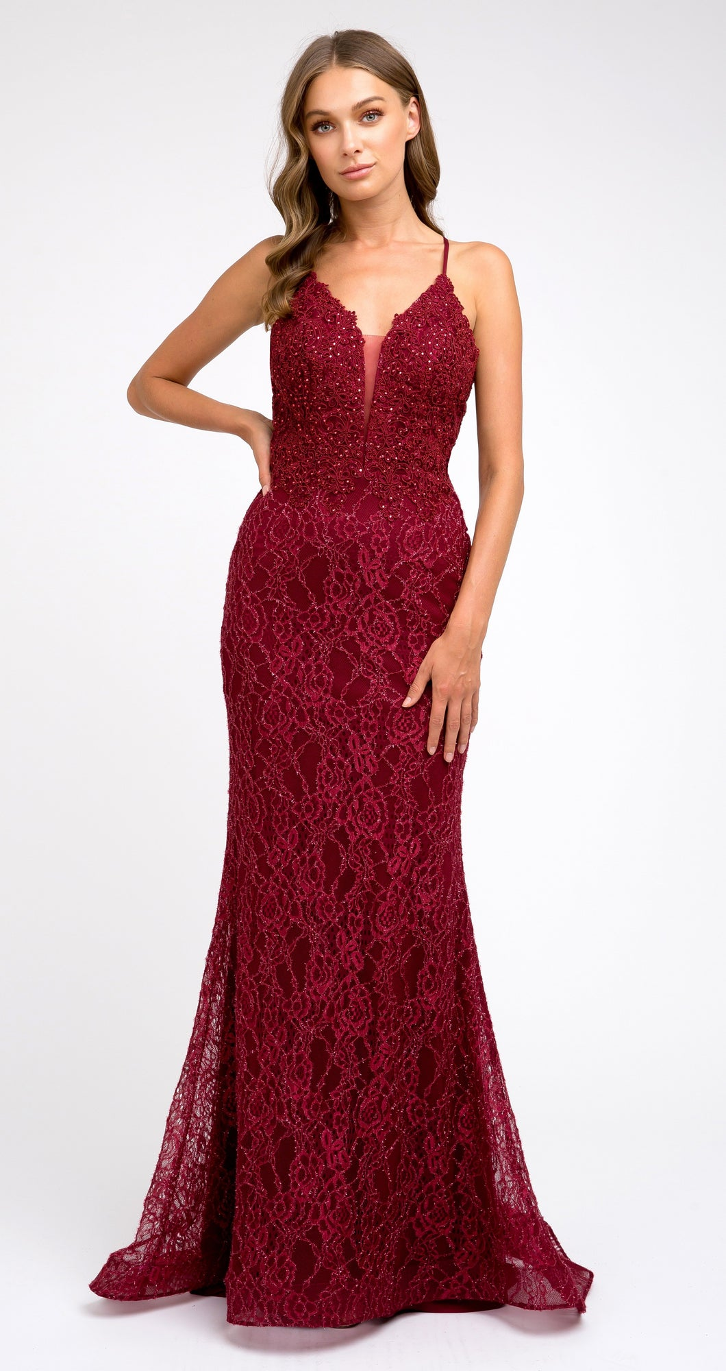 Sophia Prom Gown Lace Flared Hem Prom Dress J-220-Burgundy