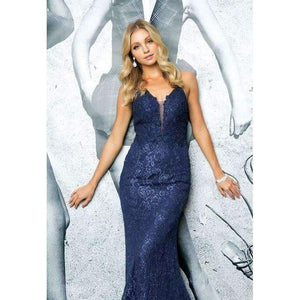 Sophia Prom Gown Lace Flared Hem Prom Dress J-220-Navy