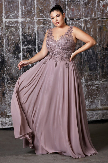 Suzette Prom Dress Lace Top Full Chiffon Skirt C-9177-Mauve