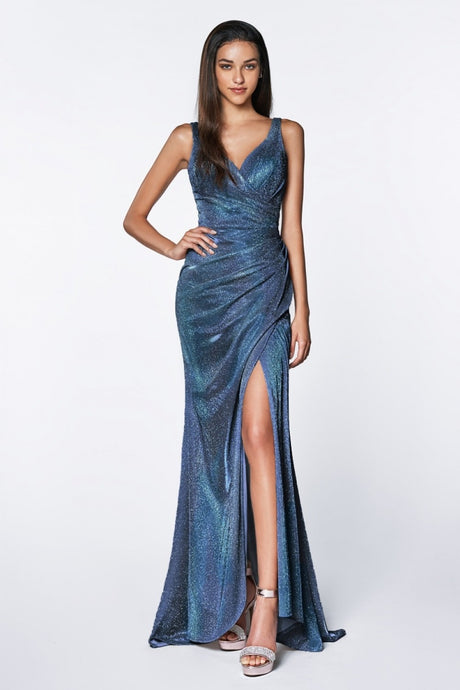 Sydney Prom Gown V Neck Gathered Waist Front Slit Prom Dress C-332-Blue