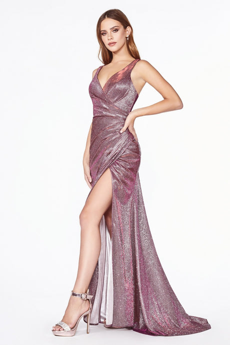 Sydney Prom Gown V Neck Gathered Waist Front Slit Prom Dress C-332-LightPurple
