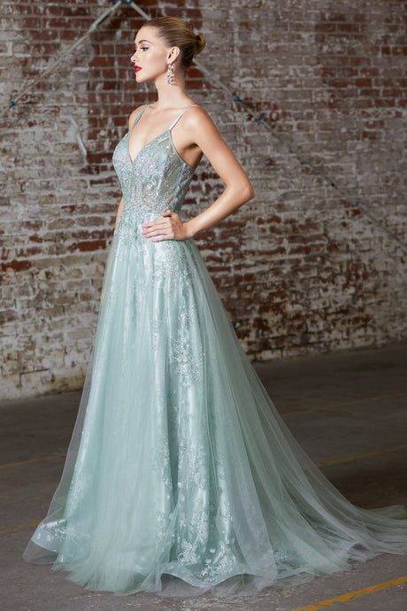 Tatum Prom Dress Corset Top Tulle Skirt Prom Gown C-47-Green