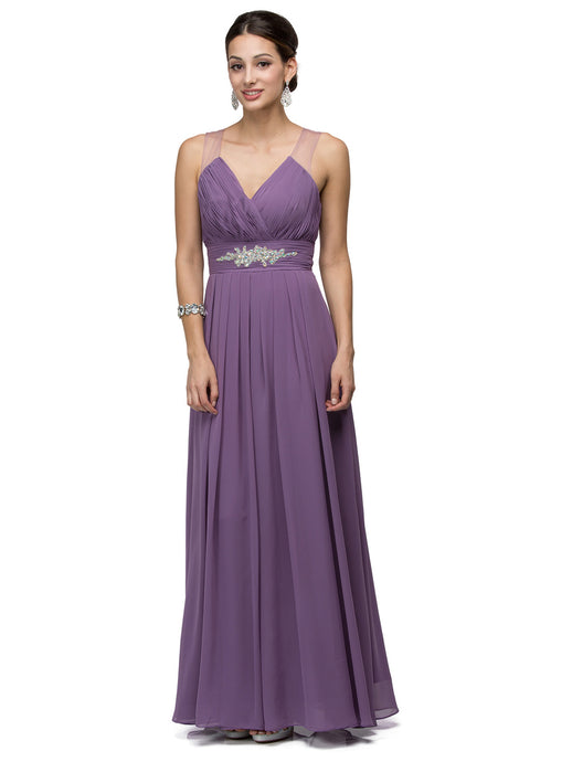 Tenley Prom Gown V Neck Jewel Accent Prom Dress D-9539-DustyLilac