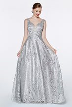 Load image into Gallery viewer, Yvette Prom Gown in Floral Design Open Back Prom Dress C-929-Silver