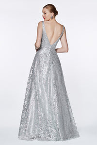 Yvette Prom Gown in Floral Design Open Back Prom Dress C-929-Silver