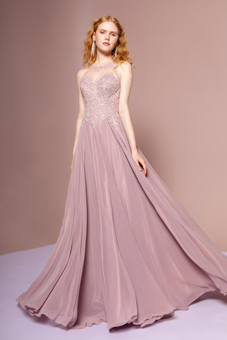 Bianca Prom Gown Lace Embroidered Top Chiffon Skirt Prom Dress G2690-Mauve
