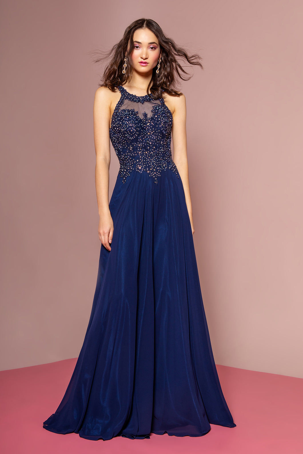 Bianca Prom Gown Lace Embroidered Top Chiffon Skirt Prom Dress G2690-Navy